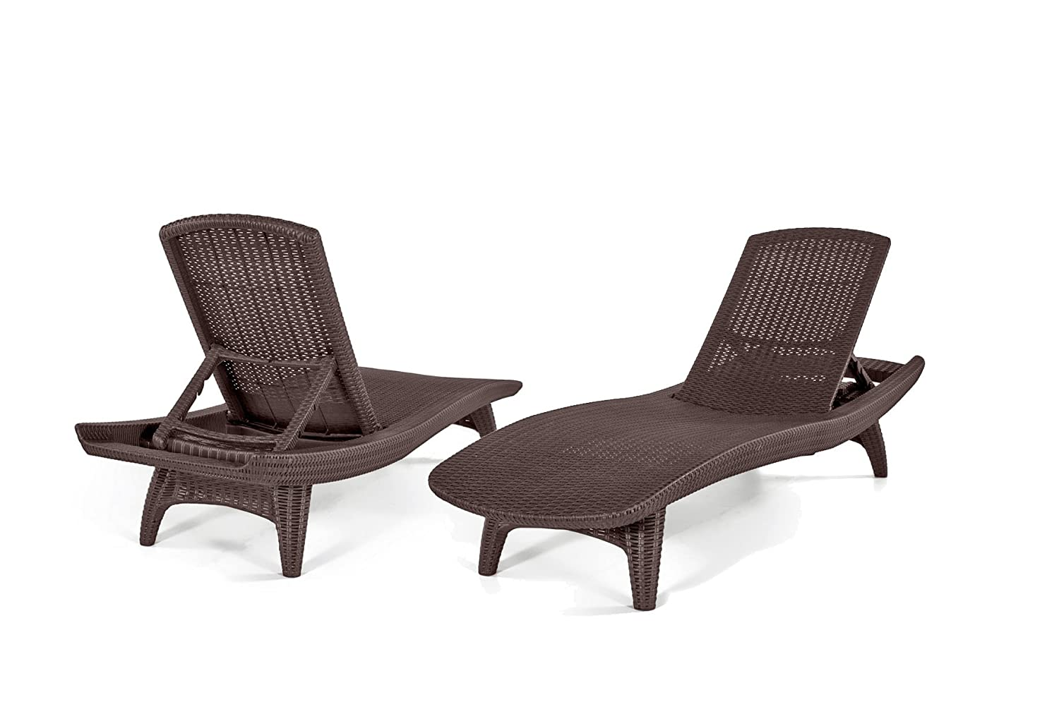 Keter Pacific Sun Chaise Lounger Set with Rio Table