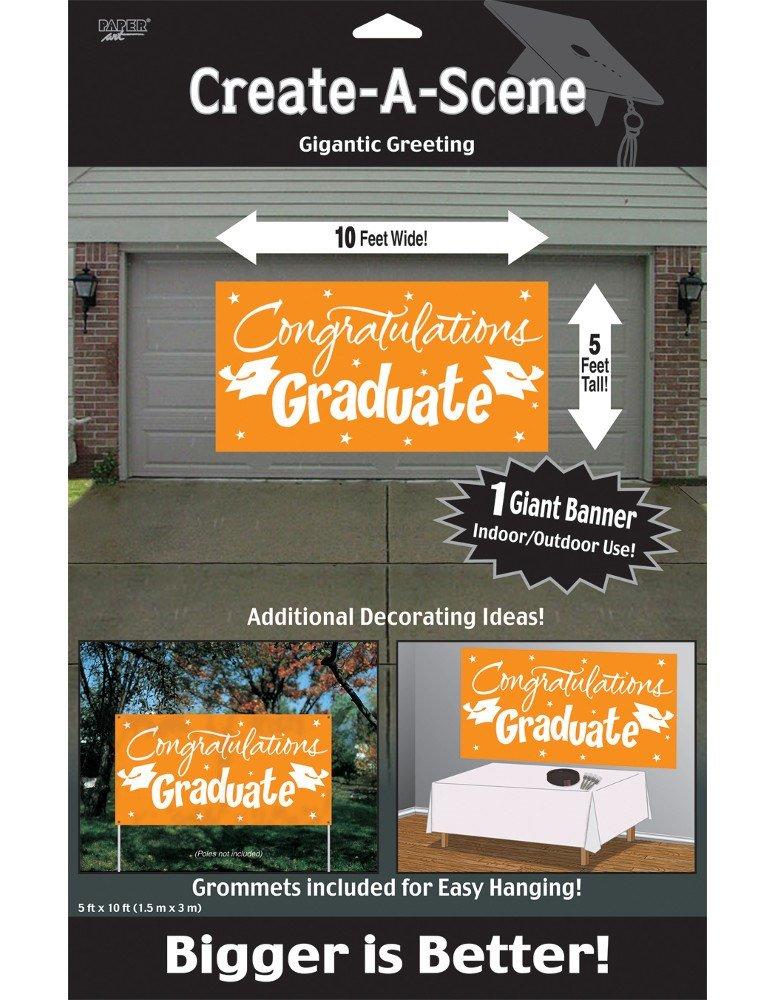 Creative Converting Congrats Grad Paper Art Gigantic Greetings, Orange