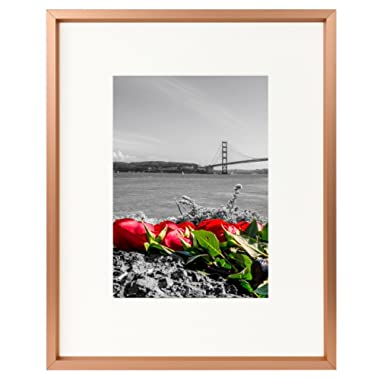 Frametory, 8x10 Table-Top Metal Picture Frame Collection, Aluminum Photo Frame with Ivory Color Mat for 5x7 Picture & Real Glass (Rose Gold)