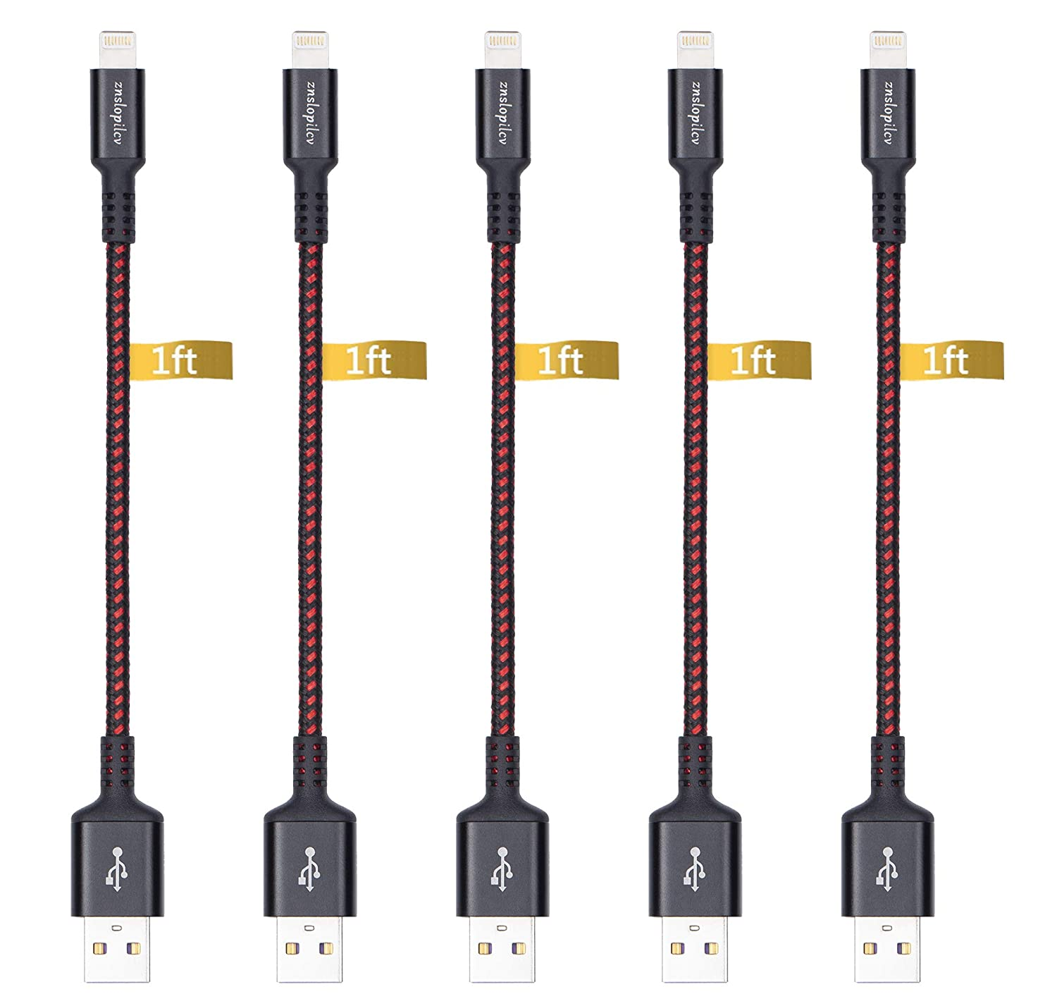 iPhone Charger, Lightning Cable, 5Pack 1FT short iPhone Charger cables to Syncing Charging Cable Data Cord Compatible with iPhone Xs, iPhone Xs MAX, iPhone XR, iPhone X, iPhone 8/7/6/5 /Plus More
