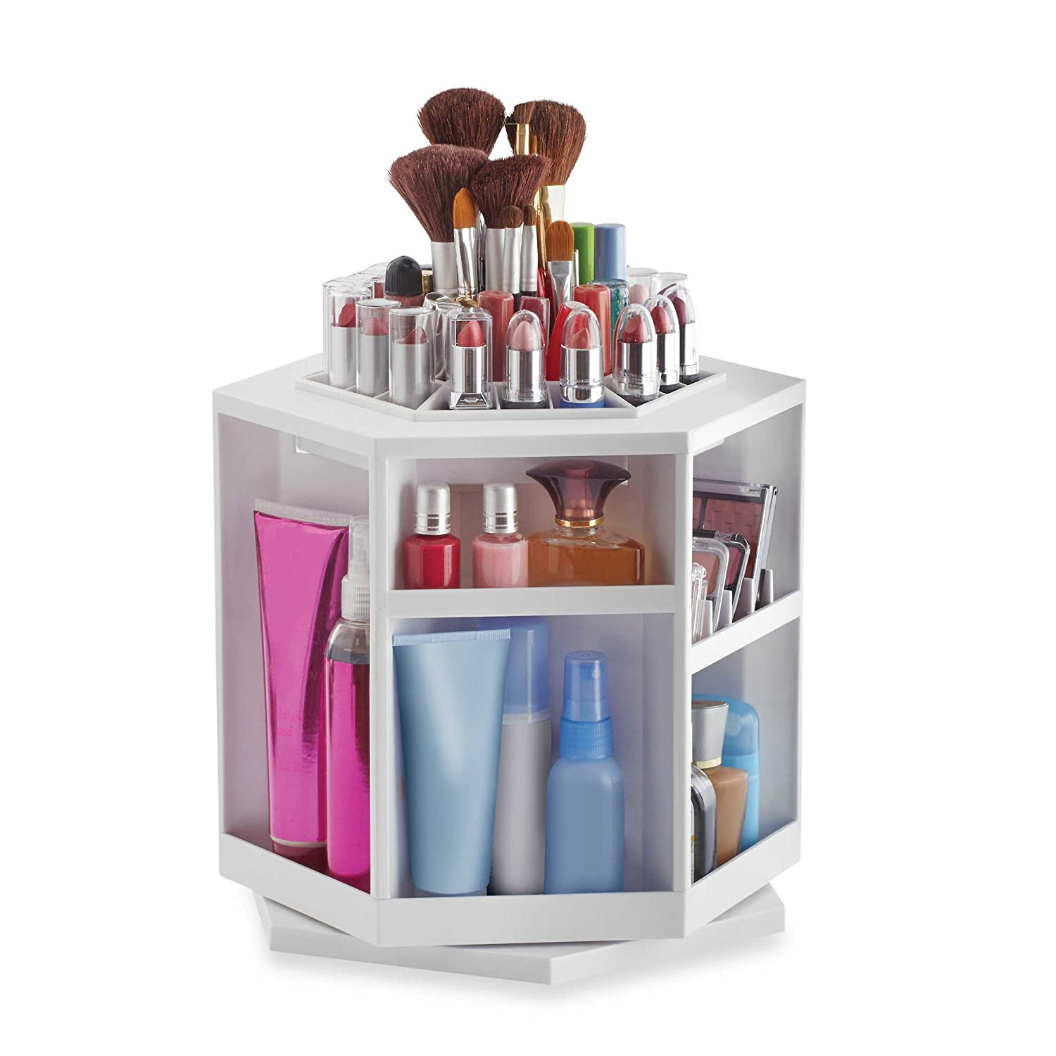 Amazoncom Lori Greiner Spinning Cosmetic Organizer in White Beauty