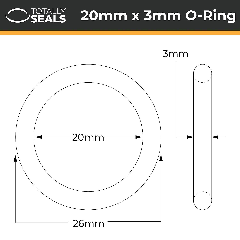 Elija el tama/ño del paquete de goma de nitrilo con juntas t/óricas de dureza 70A Shore 20 mm x 3 mm 26 mm OD