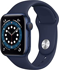 New Apple Watch Series 6 (GPS, 40mm) - Blue Aluminum Case with Deep Navy Sport Band (Renewed)