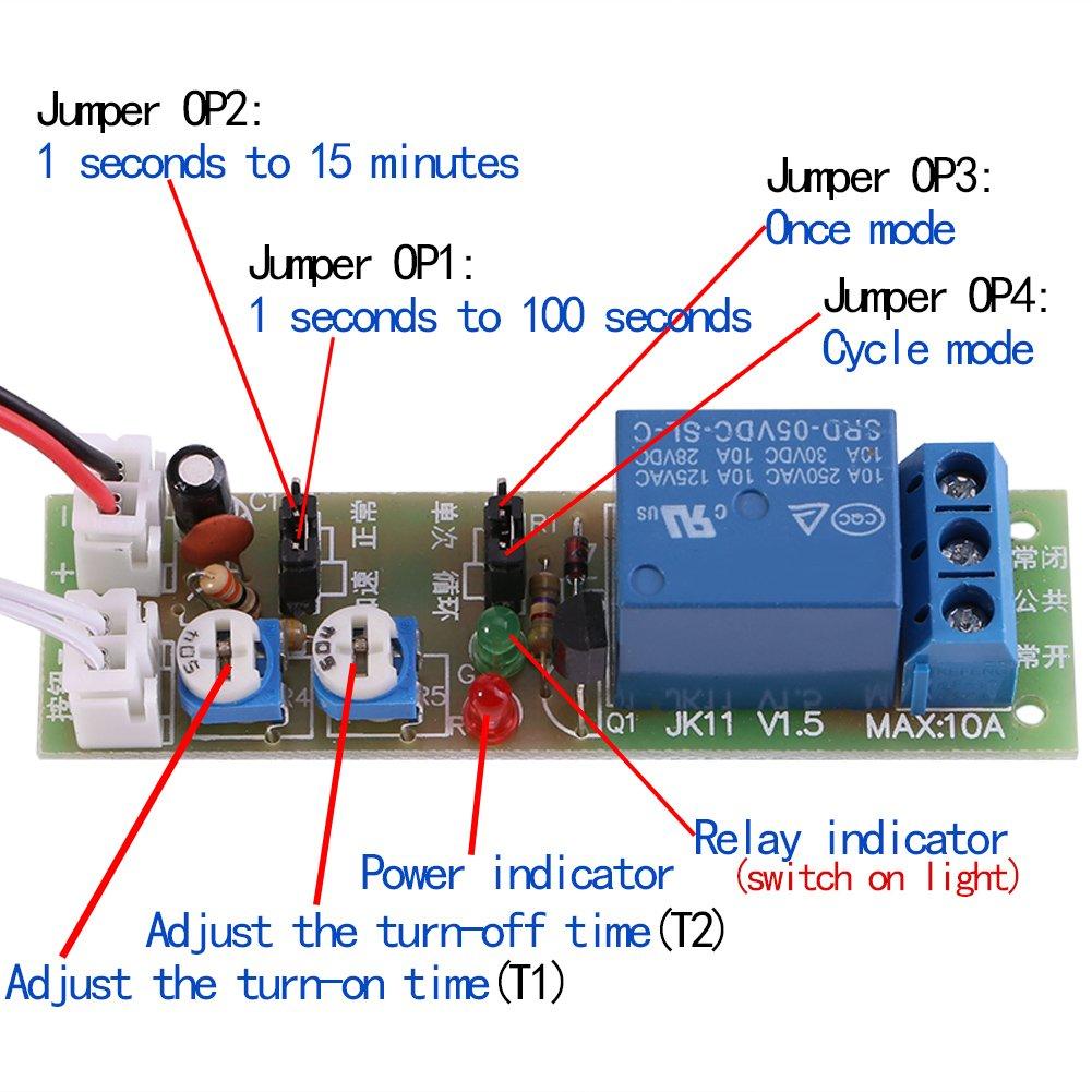 12V Temporizador de ciclo ajustable Retardo On//Off Interruptor M/ódulo de rel/é DC 5V 0-60min 24V 0-15min DC 12V 0-15 minutos ajustable