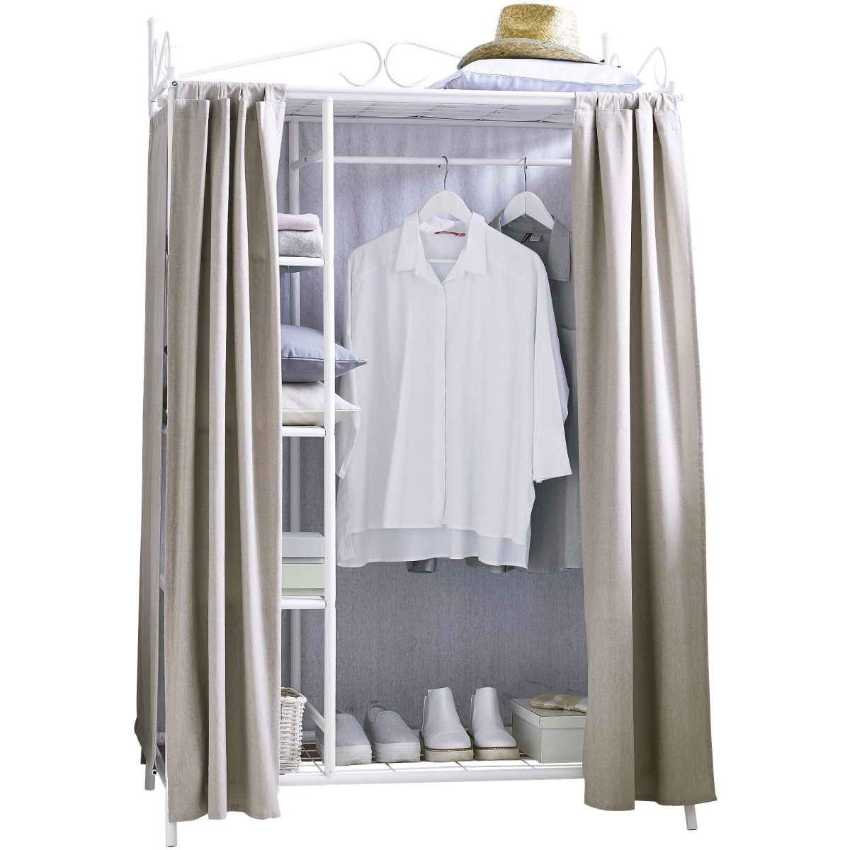 Wardrobe Breezy Metal Frame Cotton Cover White Taupe 109 x 171 x 57 ...