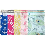 Designer Poly Mailers 10x13 : Peacock, Nautical, Flamingo, Daisy, Pink Aloha; Printed Self Sealing Shipping Poly Envelopes Bag (40 Mix Variety Pack #1)