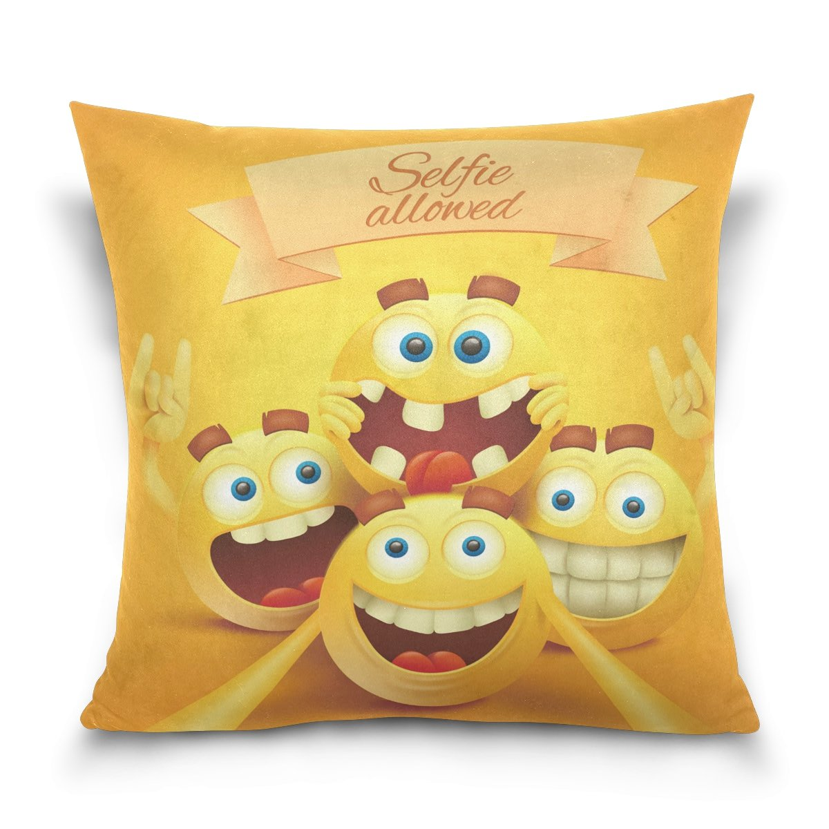 ALAZA Funny Emoji Cotton Pillowcase 20 X 20 Inches Twin Sides, Smiley Emoji Faces Pillow Case Sham Cover Protector Decorative for Home Hotel Couch Ded