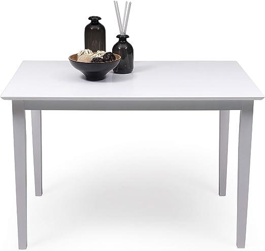 Mesa de Comedor o Cocina Kansas de Madera lacada en Color Blanco ...