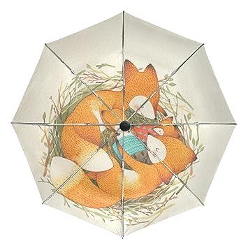 BENNIGIRY Paraguas Fox Love UV - Sombrilla Ligera y antirayos UV, Elegante Reverso de 3
