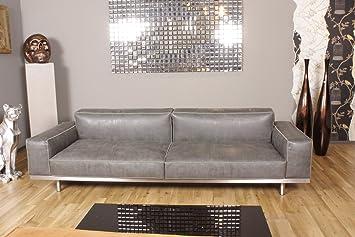 KAWOLA Sofa OPRA Ledersofa 4 Sitzer Leder Toledo Farbe Silvergrey Grau