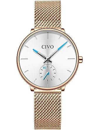 2f0e19730172 [チーヴォ]CIVO 腕時計 レディース時計薄型 アナログクオーツメッシュ腕時計ローズゴールド ステンレススチール
