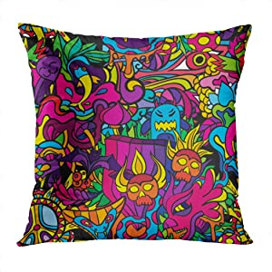 Suike Throw Pillow Cover Green Trippy 60S Hippie Psychedelic Crazy Drug Cat Demon Abstract Furniture Acid Bad Hidden Zipper Home Sofa Decorative Cushion Case 16x16 Inch Square Printed Pillowcase