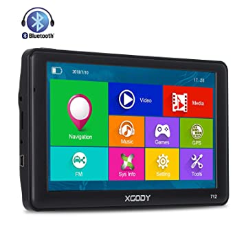 Xgody 712 - Sistema de navegación GPS para camión con Bluetooth para coche, pantalla táctil capacitiva de ...