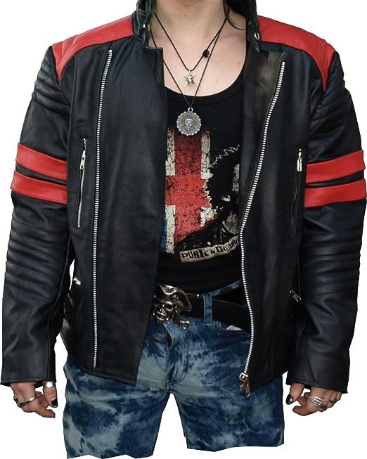 Hard Leather -Chaqueta de cuero para hombre Biker con rayas blancas XXL: Amazon.es: Ropa y accesorios