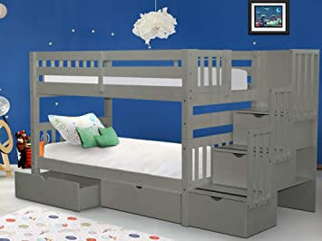 Amazon Com Bedz King Stairway Bunk Beds Twin Over Twin With 3 Drawers In The Steps And 2 Under Bed Drawers Gray Furniture Decor