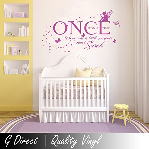 Personalised Once Upon A Time Princess Wall Sticker Vinyl Decal Girls  Bedroom T2 100x55 Part 43