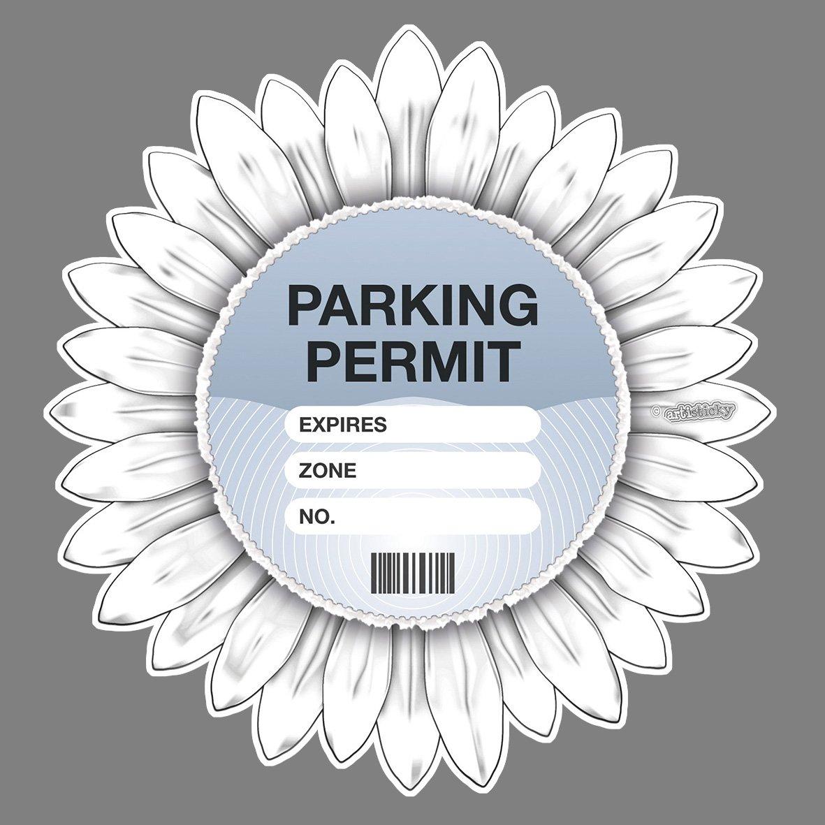 Parking Permit Holder Skin WHITE Flower Gerbera - Free Postage Artisticky AS-0056