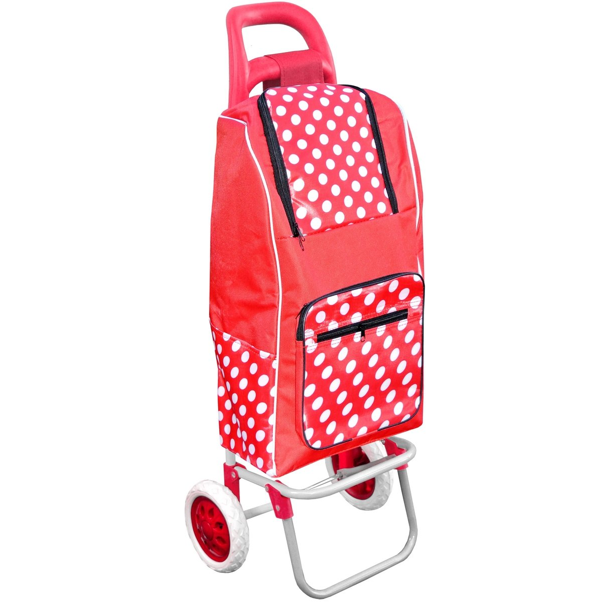 Promobo Chariot De Courses Shopping A Roulettes Isotherme A Pois Rouge 30L chariotisothermfmxroug