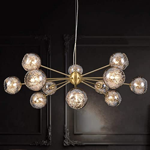 MEEROSEE Sputnik Chandeliers Modern Glass Bubble Chandelier Wired Aluminum Pendant Lighting W37.4″ 12-Light Brushed Brass Ceiling Fixture
