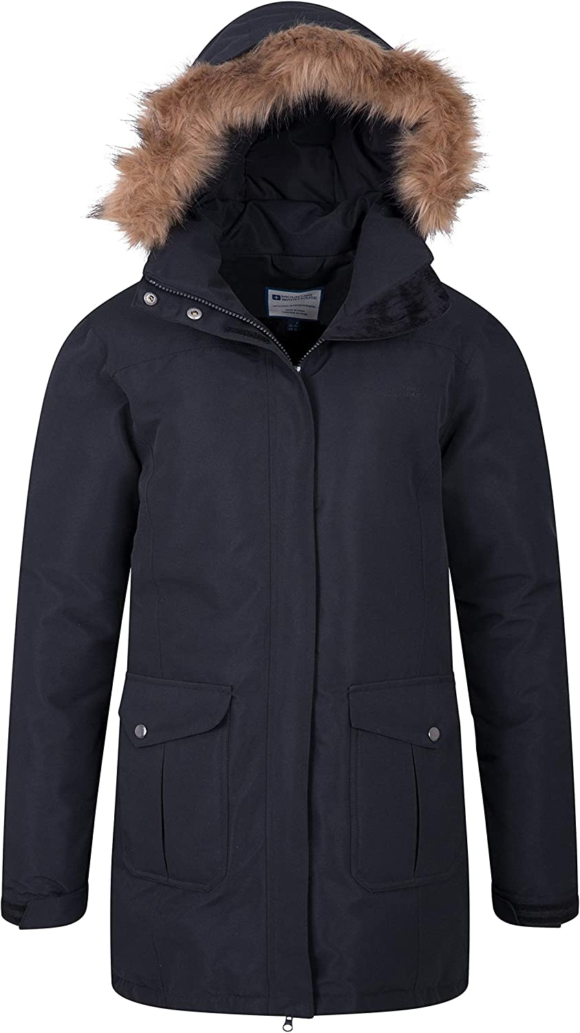 Ideal for Camping in Cold Weather Padded Coat Waterproof Fur Trim Hoodie Fleece Lining Ladies Coat Mountain Warehouse Tarka Womens Winter Jacket -Long