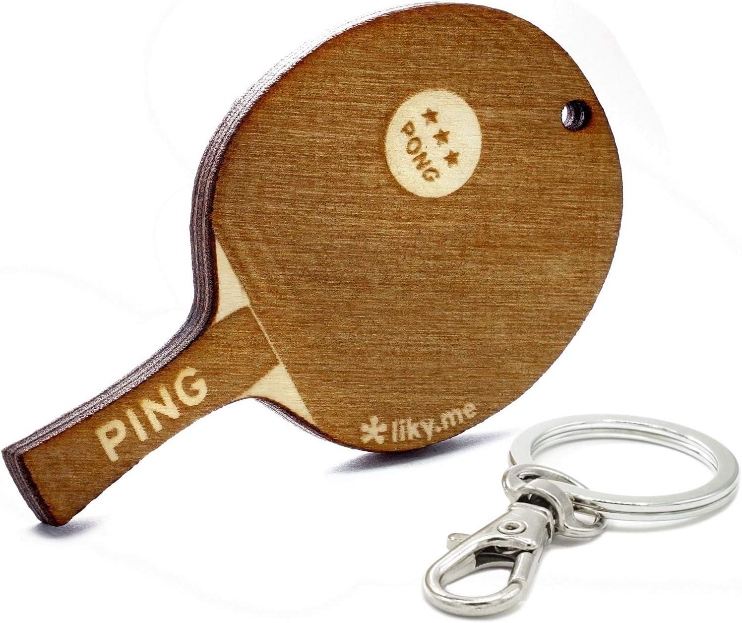 LIKY® Tenis de Mesa Ping Pong- Llavero Original de Madera Grabado Regalo para día del Padre Madre Mujer Hombre cumpleaños pasatiempo Colgante Bolso Mochila