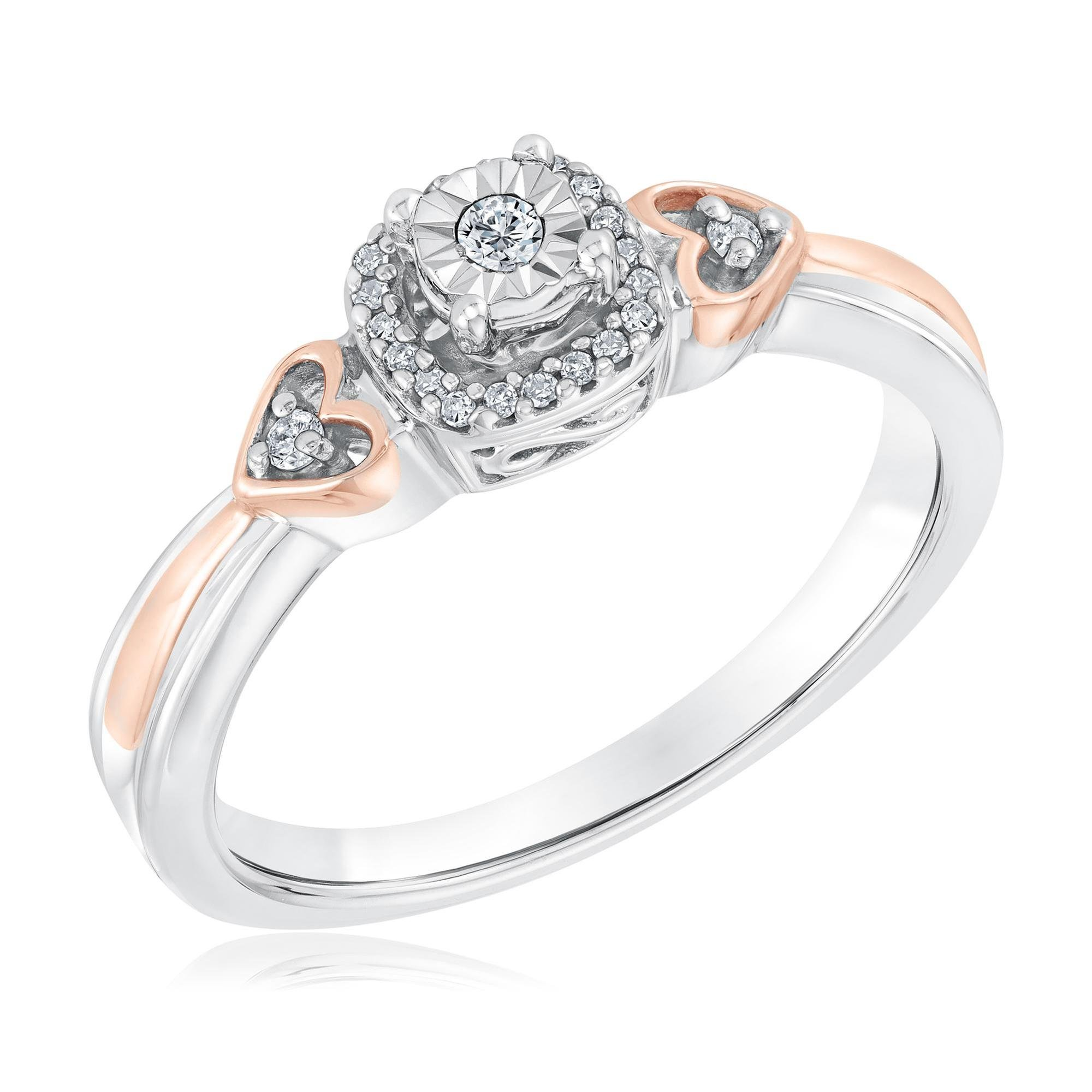 Two-Tone Diamond Cushion and Double Heart Promise Ring 1/10ctw - Size 8