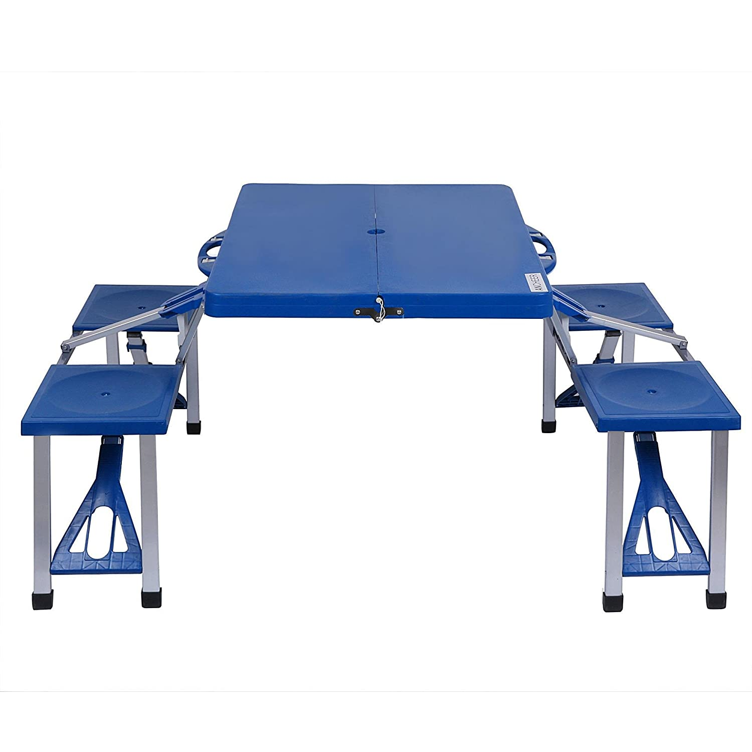 Hindom Kids Collapsible Portable Outdoor Plastic Camp Suitcase Picnic Table With 4 Seats, Folding Table and Benches for Garden Yard, Camping BBQ, Hiking, Blue(US Stock)
