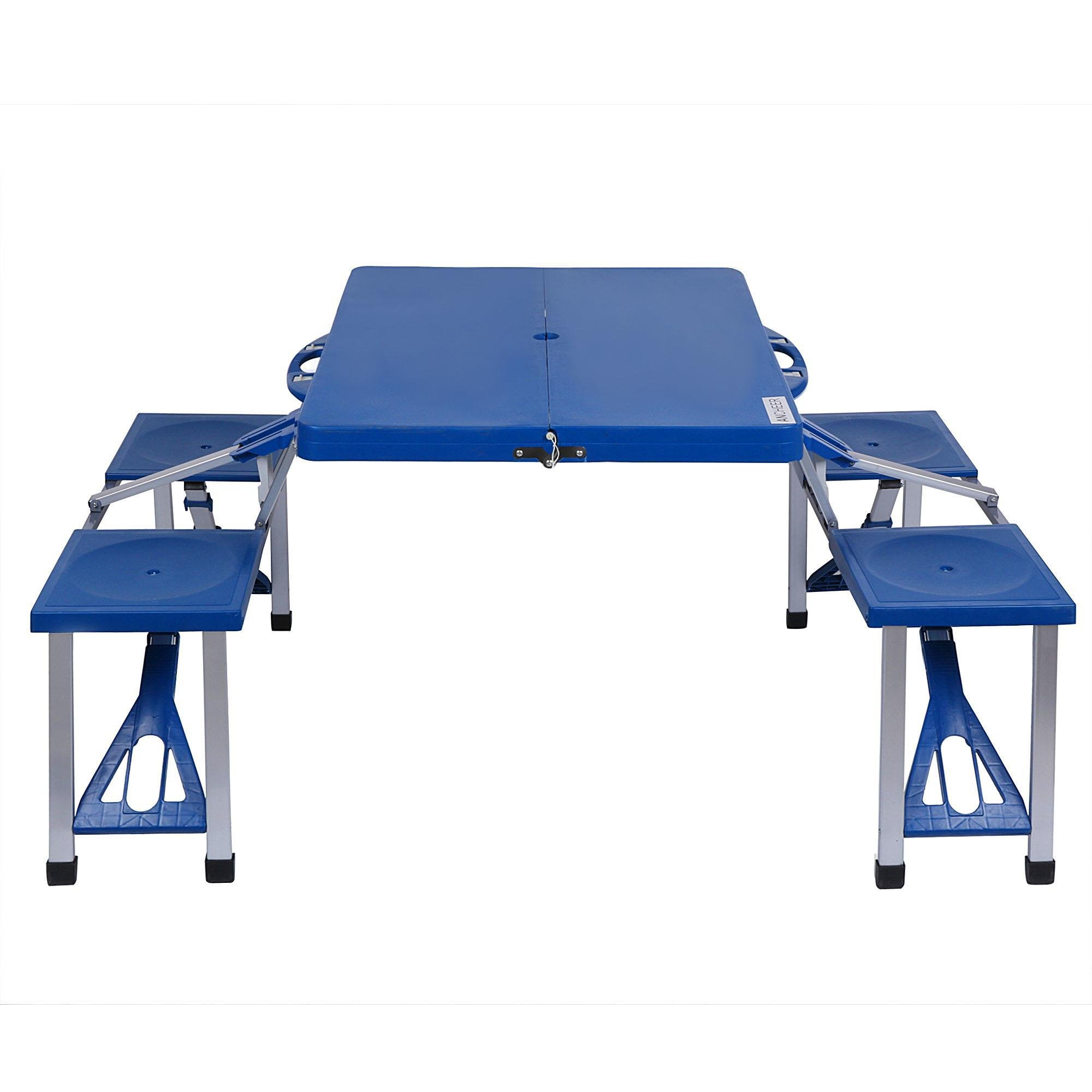 Hindom Kids Collapsible Portable Outdoor Plastic Camp Suitcase Picnic Table With 4 Seats,Folding Table and Benches for Garden Yard,Camping BBQ,Hiking,Blue(US Stock)