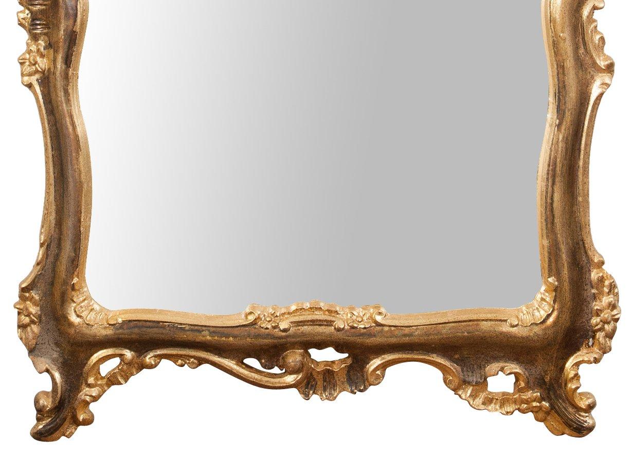Biscottini Specchiera da Parete in Legno Finitura Foglia Oro ossidato Anticato L68xPR5,5xH122 cm Made in Italy