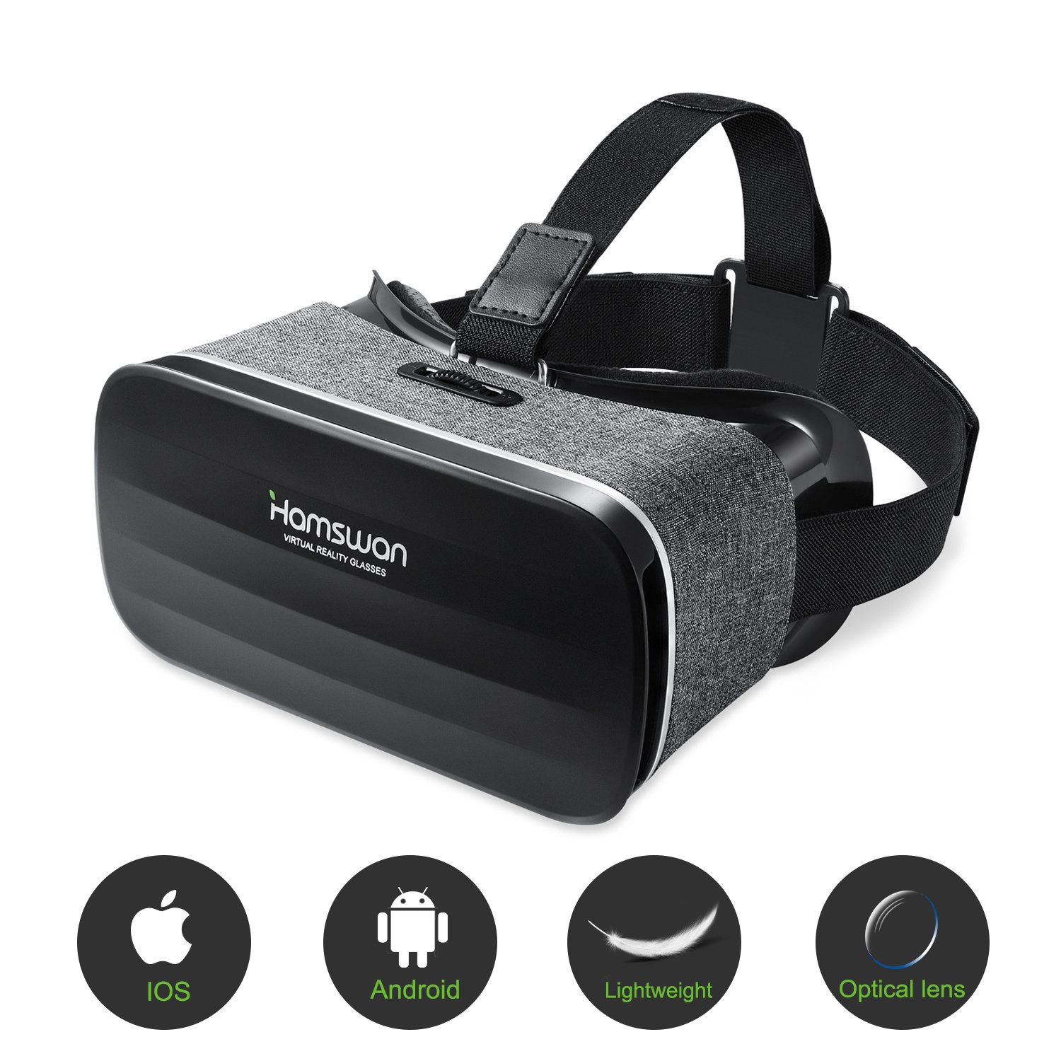 3D Virtual Reality Headset, HAMSWAN VR Goggles VR Glasses VR Headset for TV, Movies & Video Games - Light Weight VR Goggles Compatible with iOS, Android and Other Phones within 4.0-6.0 Inch by HAMSWAN (Image #1)