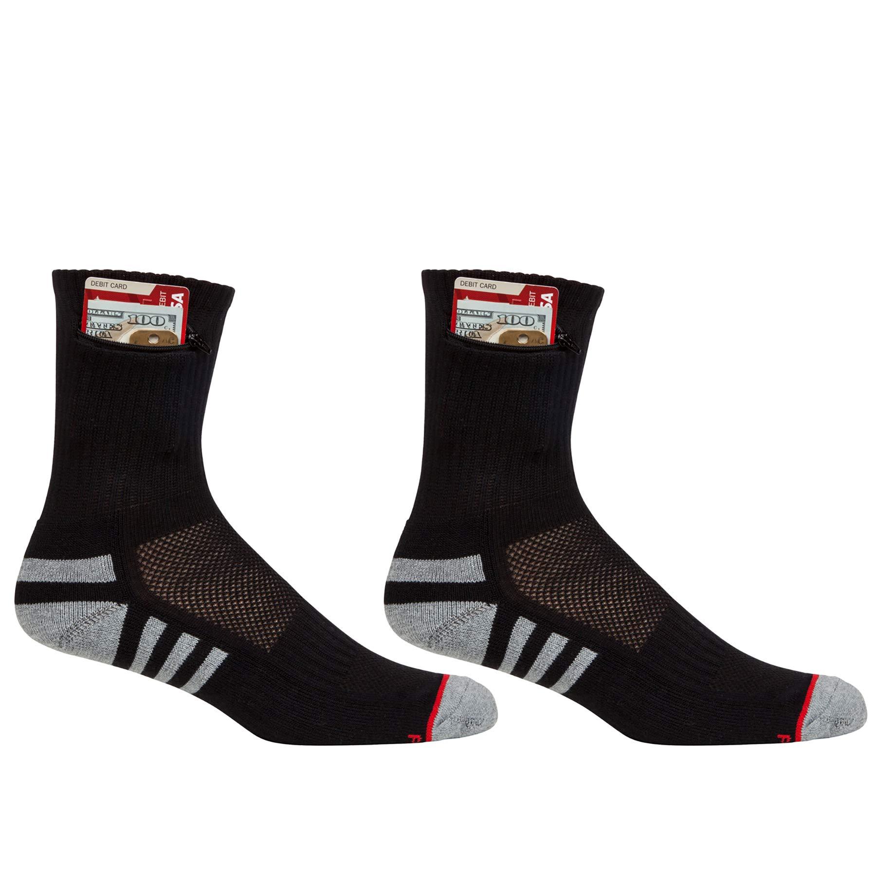Pocket Socks Men's 2-Pack Athletic Travel Ankle Socks with Hidden Zip Security Pocket for ID, Key or Cash Money, One Size Fits Most, Black, 2 Pair by Pocket Socks