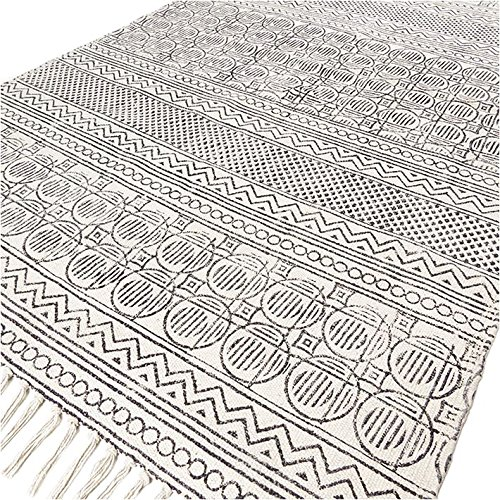 Eyes of India - 3 X 5 ft Off- White Black Cotton Block Print Area Accent Dhurrie Rug Flat Weave Woven Boho Chic Indian ()