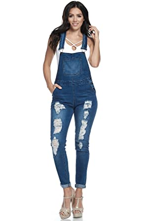 2925b88da332 Amazon.com  TwiinSisters Women s Destroyed Denim Slim Fit Curvy Overalls  with Comfort Stretch - Size Small to 3X  Clothing