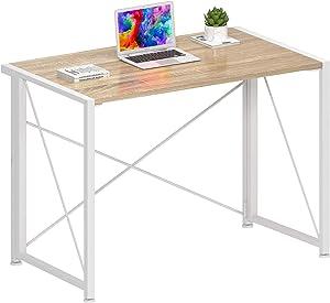 "JSB 35.43"" Folding Computer Desk No-Assembly Writing Desk Modern Work Table Laptop Desk for Home Office (35.43"" x 17.7"" x 29.53"", White)"