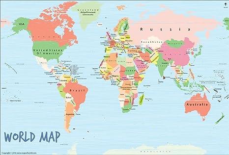 Amazon.com: Mapa del Mundo art-scribble Cartel (36
