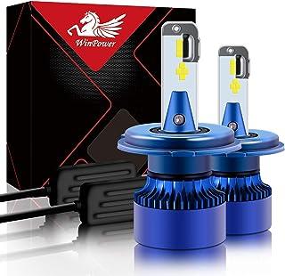 Win Power H4/HS1 Scheinwerferlampe mit Fernlicht/Abblendlicht P43t Vorderlicht Lampe 30W 7200Lm 6000K Xenon Weiß Halogen-Aufrüstsatz, 2 Stücke