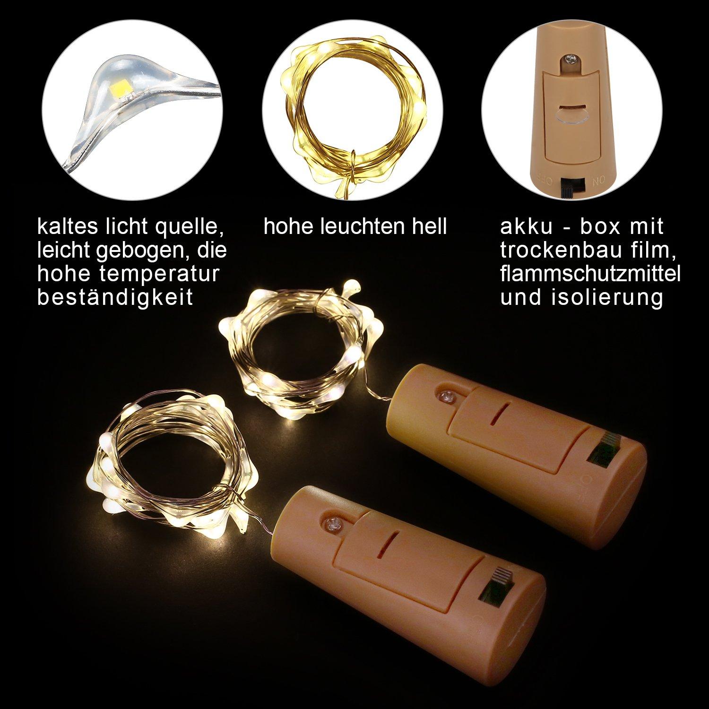 9x 20 LED Flaschen-Licht Kupferdraht Cork Form der LED Nacht Licht ...