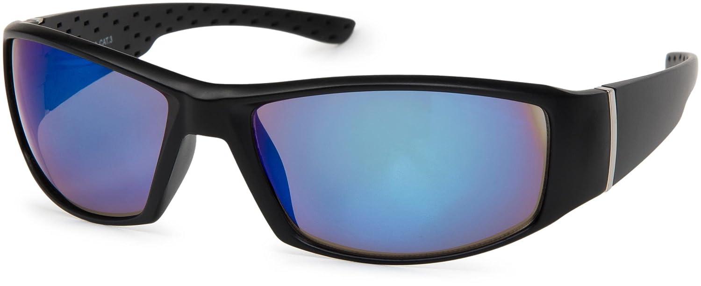 styleBREAKER lunettes de soleil sport à verres teintés et antireflet, monture lunettes sport, unisexe 09020048, couleur:Monture noire / verre bleu vert réfléchissant