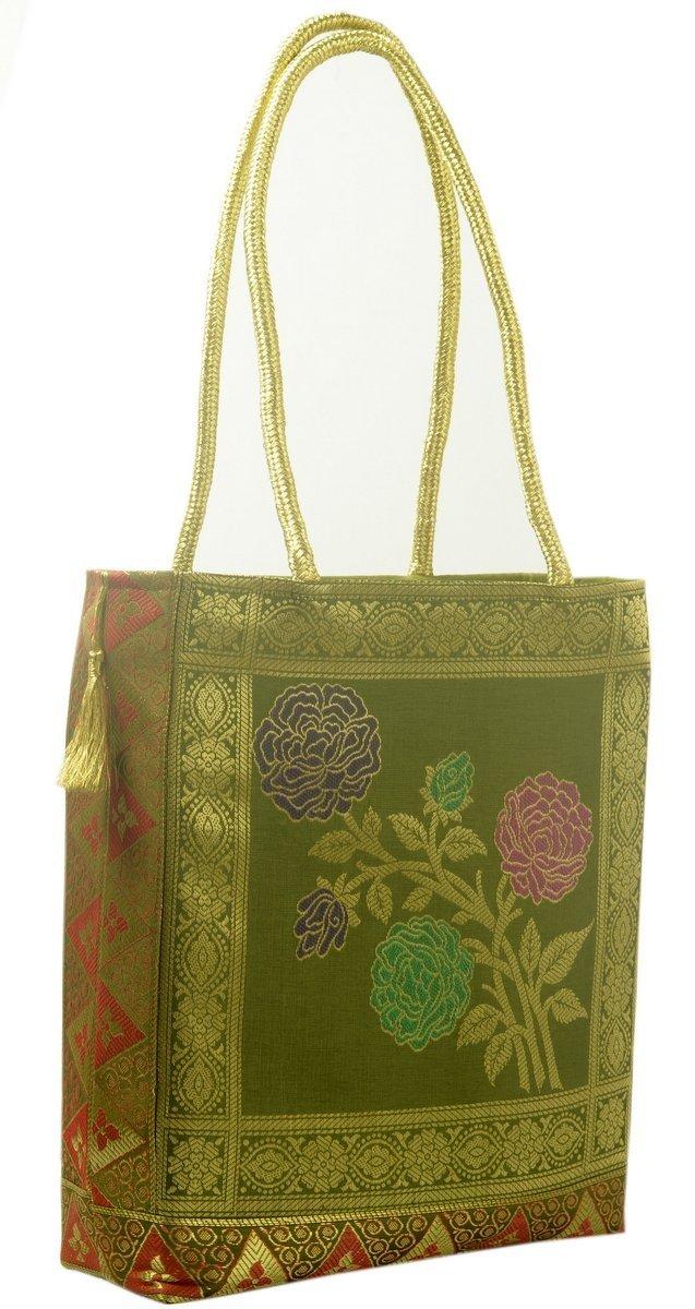 Indian Ethnic Woven Zari Brocade Fabric Handbag Traditional Shoulder Hand Bag