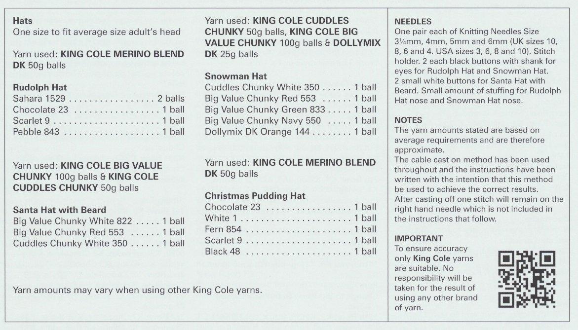 King Cole Dk Chunky Adults Christmas Hat Knitting Pattern Snowman