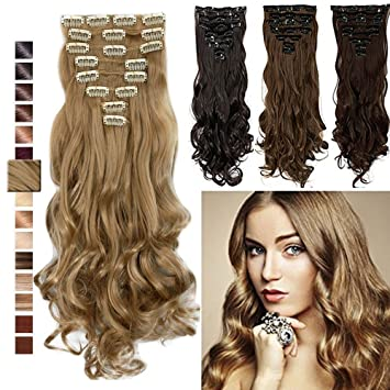 Amazon s noilite 17 curly ash blonde clip in hair extension s noilite 17quot curly ash blonde clip in hair extension synthetic hair extension full pmusecretfo Image collections