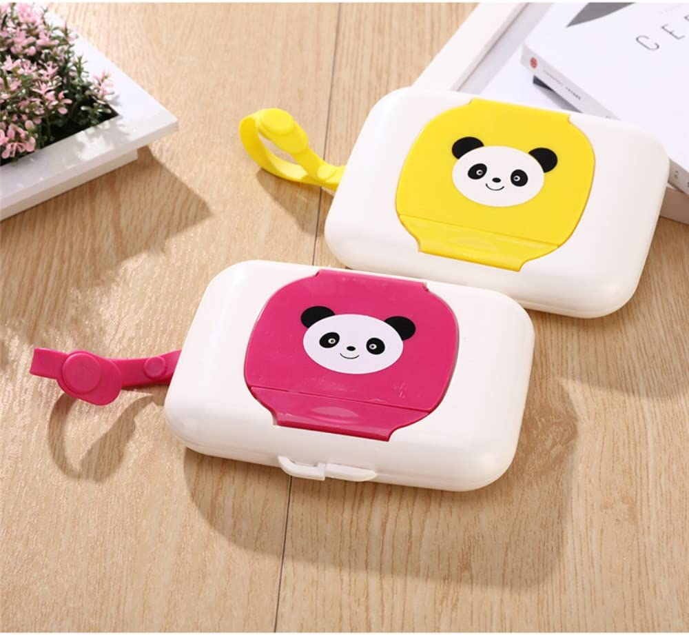 BEARCOLO Plastic Wet Tissue Box Portable Cartoon Cute Tissue Case Baby Kids Wet Wipes Container Organizer Pop Up Design Home Accessories