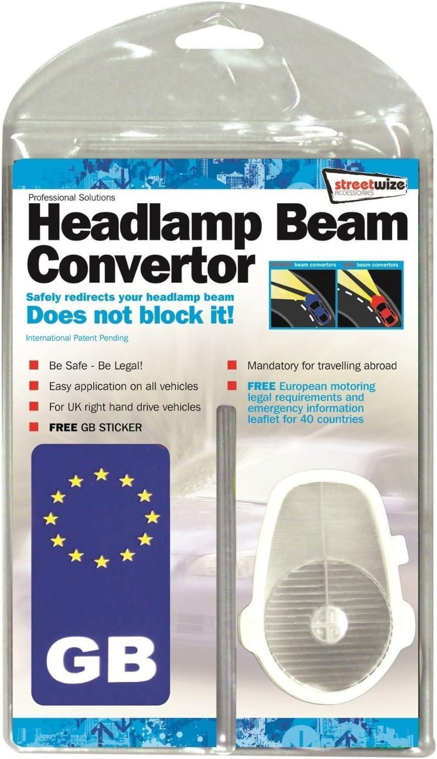Headlamp Beam Deflectors Convertors GB Plate Black White European Driving