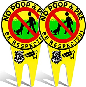 WHXGQ Eye-catching No Dog Poop Signs, No Poop and Pee Dog Signs with Stake Glow in The Dark Large Luminous Please Be Respectful Sign Double Sided Aluminum Dog Signs for Yard - 2 Pieces