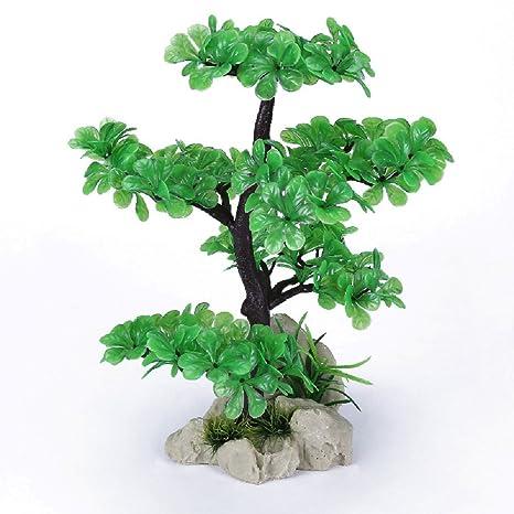 JUZIPI Decoración para Acuario con árbol de Acuario, Decoración para peceras y Peces Betta,