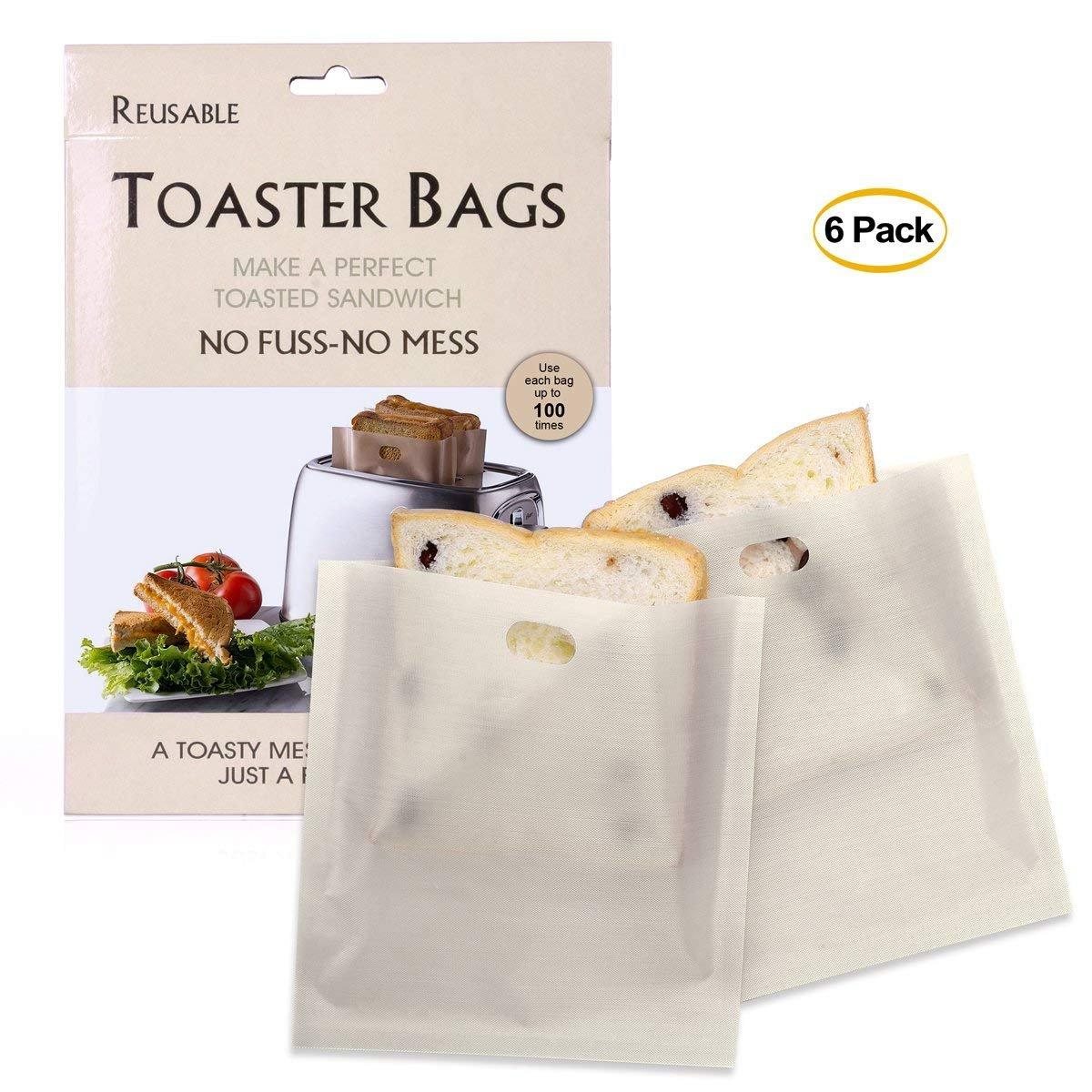 6 pezzi formaggio alla griglia tostapane sacchetti riutilizzabile antiaderente toast bag sandwich toast borse tasche forno a microonde tostapane sacchetti Aisence