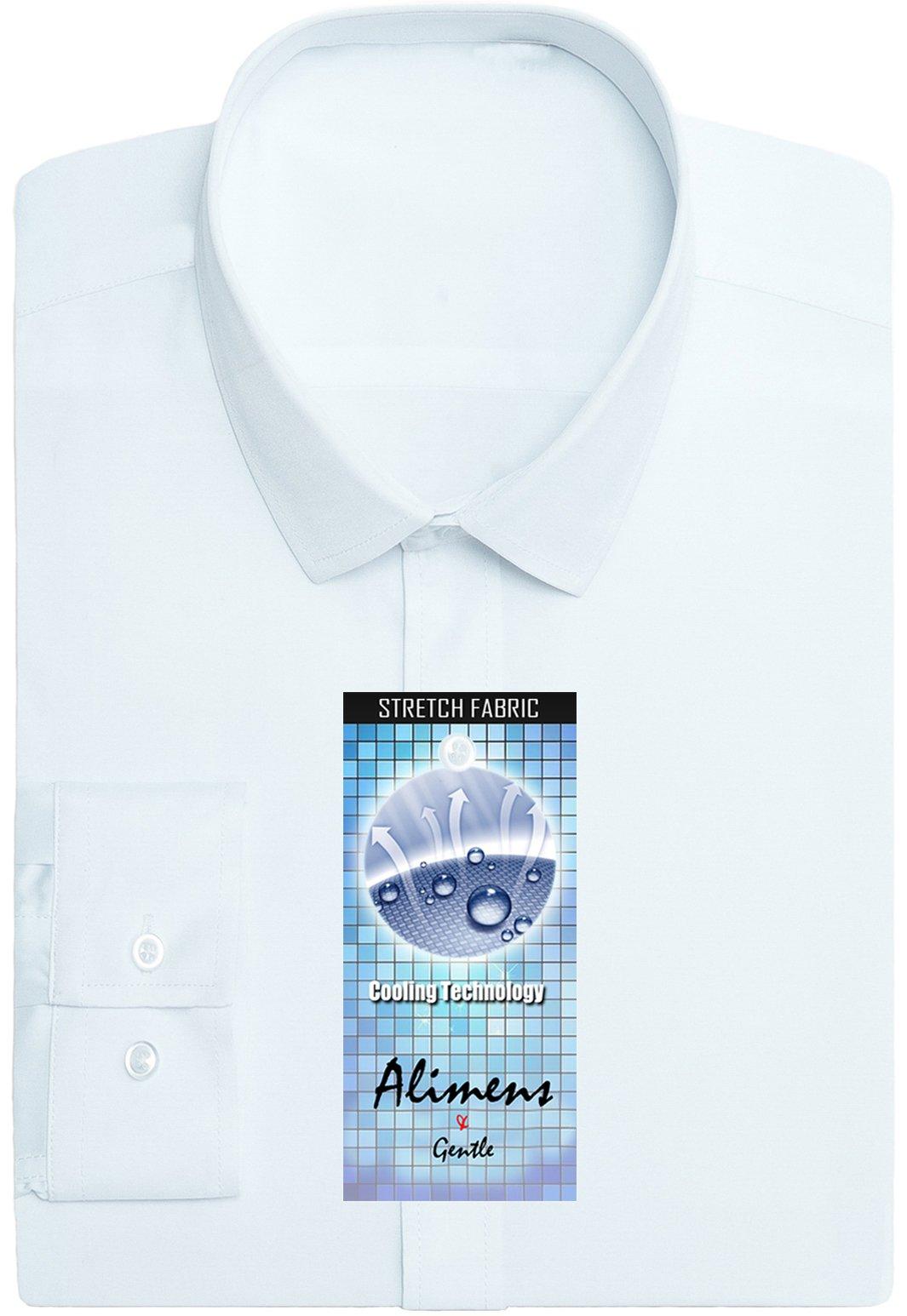 Alimens & Gentle Men's Poplin Elastic Long Sleeve Bussiness Dress Shirts - Color: White, Size: 17.5'' Neck - 34''/35'' Sleeve