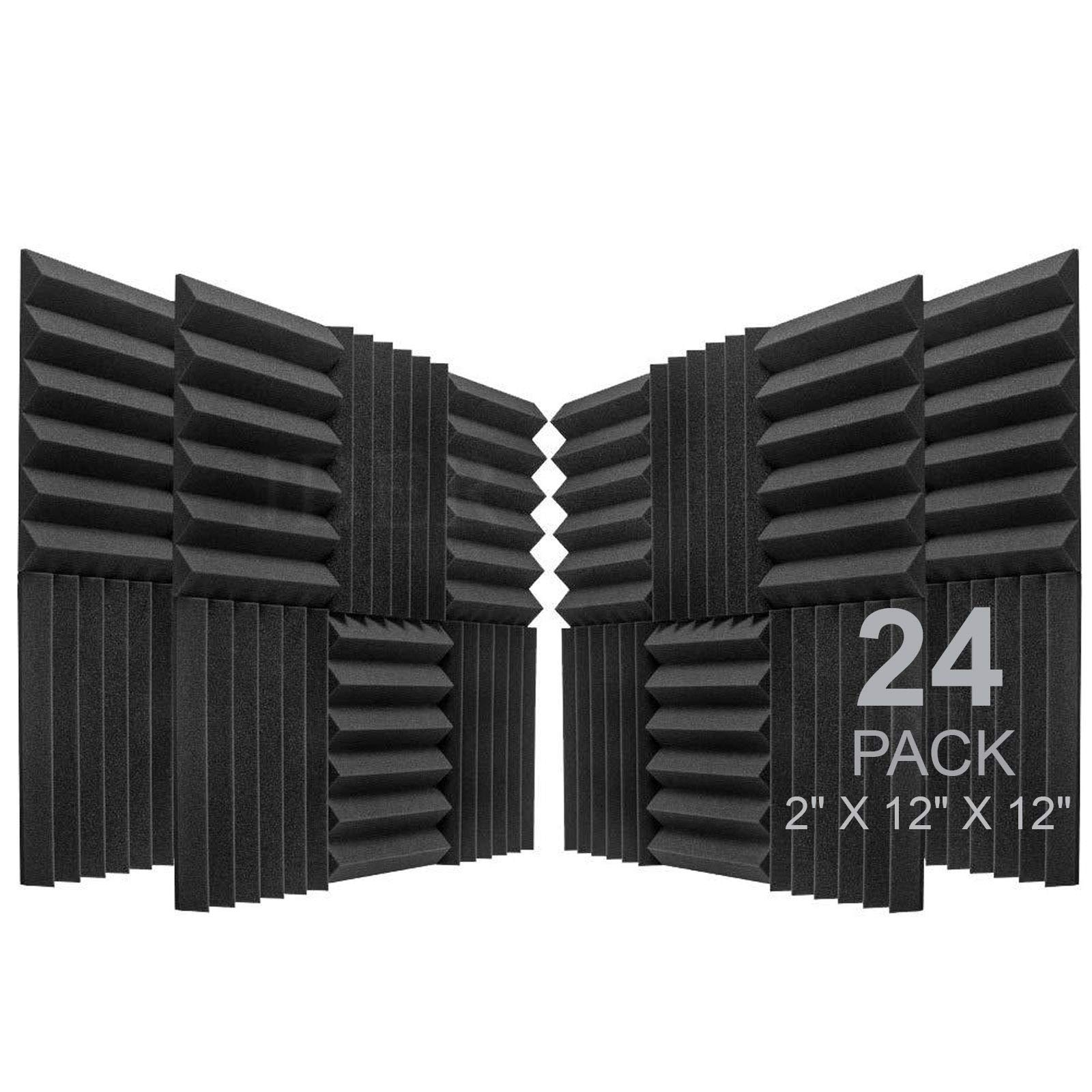 Acoustic Foam Panels Fireproof Sound Absorbing Panels Studio Foam Wedges for Walls 2 X 12 X 12 12 Pack Blue black