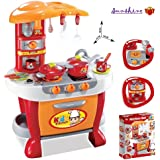 Toyshine Big Size Kitchen Set Toy With Music And Lights Playing Accessories Orange