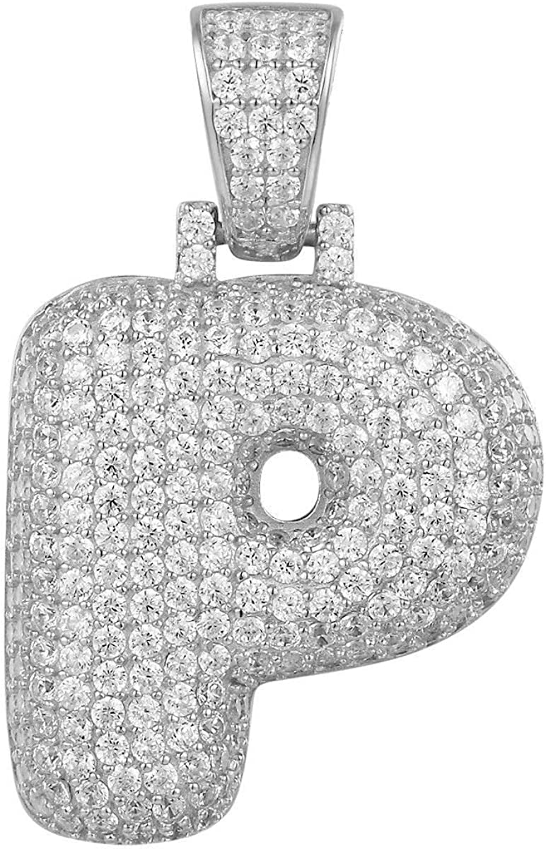 2.00 Ct Round Cut Simulated Diamond BubbleU Letters Initial Pendant Solid 10K Yellow Real Gold